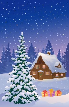 Vector illustratie van een besneeuwde kerst huisje Stock Illustratie