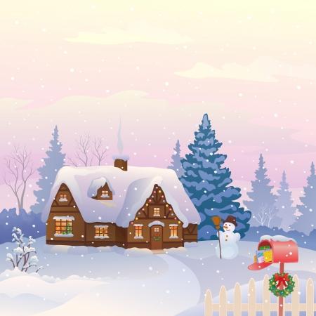 cottage: Ilustraci�n vectorial de una casa de campo cubierto de nieve con un buz�n lleno