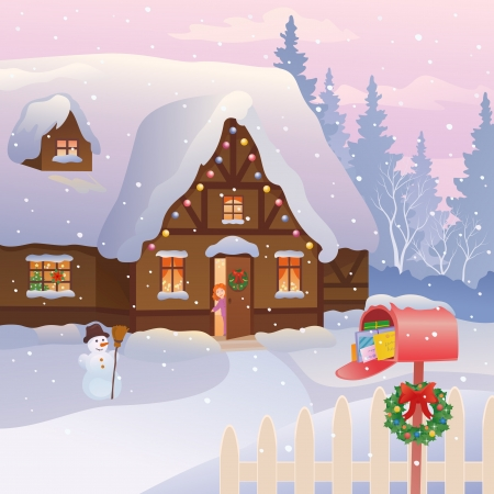 Vector illustration of a snowy cottage with a full mailbox and a little girl at the door