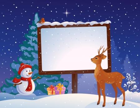 Vector illustratie van een sneeuwpop met een besneeuwde lege plakkaat