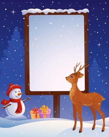 Vector illustration of a snowman with a snowy blank placard Stock Vector - 23039593