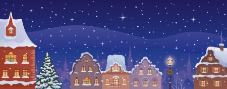 Vector illustration of a decorated old town's panorama Stock Vector - 23039595
