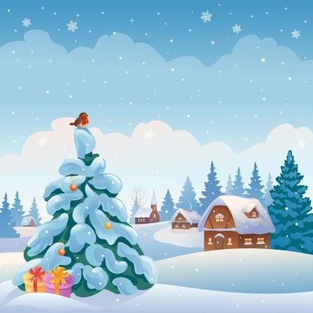 Vector illustratie van een winter dorp in het bos