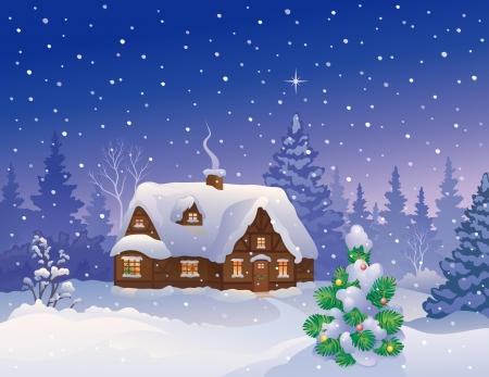 시골집: 눈 덮인 크리스마스 별장의 벡터 일러스트 레이 션 일러스트