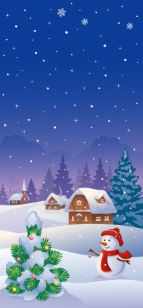 christmas village: Vector illustration of a snowy country and a snowman decorating a small fir tree