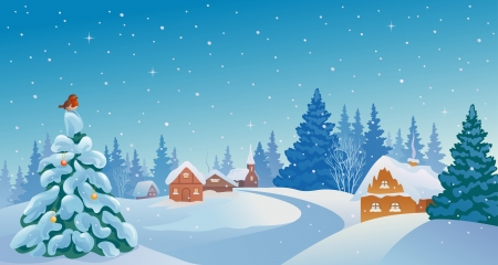 outdoor scenery: Vector illustration of a snowy winter village