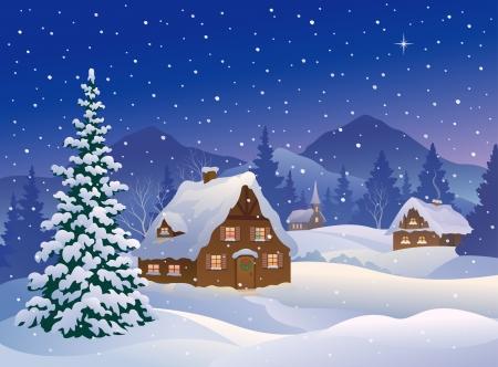 Vector illustratie van een besneeuwde winternacht dorp in de bergen bossen Stock Illustratie