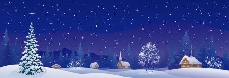 雪の冬村のベクトル イラスト  イラスト・ベクター素材