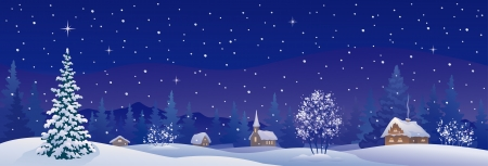 panoramic sky: Vector illustration of a snowy winter village