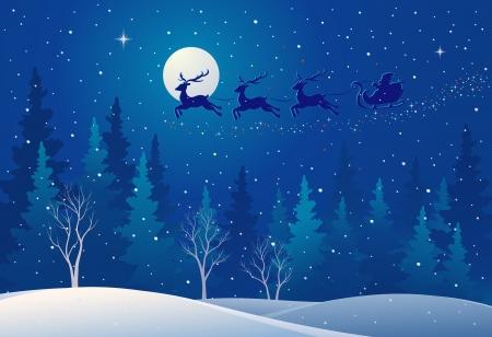 papa noel en trineo: Ilustración vectorial de Santa s trineo volando sobre bosques