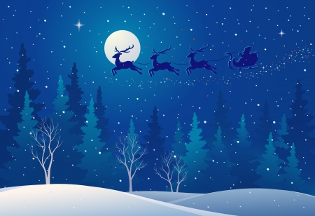 Vector illustration of Santa s sleigh flying over woods Ilustração