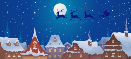 Vector illustration of Santa s sleigh flying over old town s rooftops Çizim