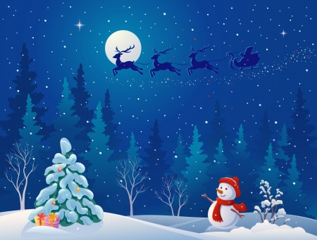 Vector illustration of Santa's sleigh flying over woods, and greeting snowman