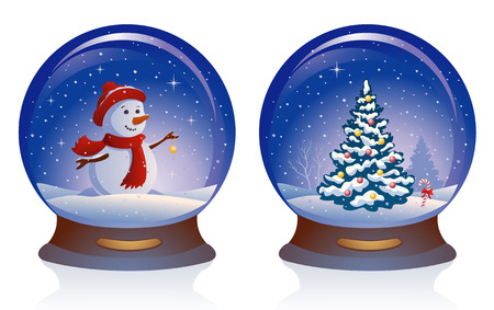 x mas background: Vector illustration of snow globes, isolated on white