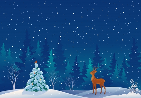 peaceful scene: Vector illustration of a snowy xmas forest scene