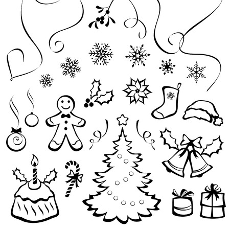 Vector set of Christmas graphic elements, isolated on white background Vector