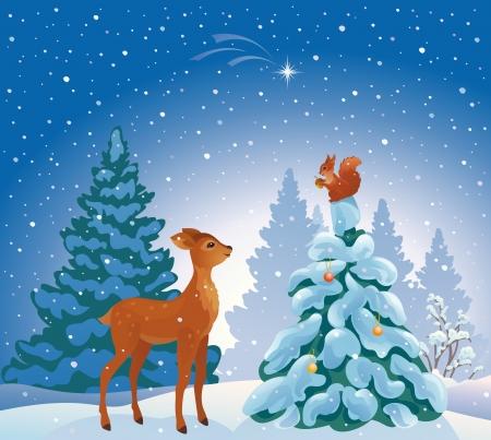 Ilustración vectorial de una escena del bosque de la Navidad