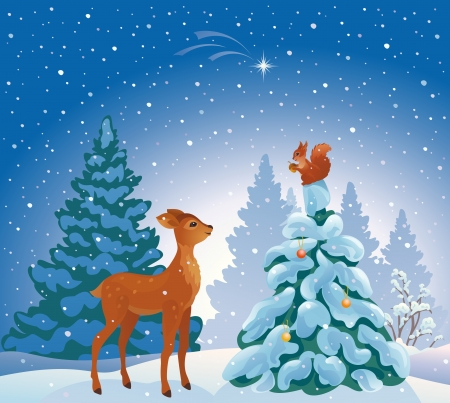 christmastide: Vector illustration of a Christmas forest scene Illustration