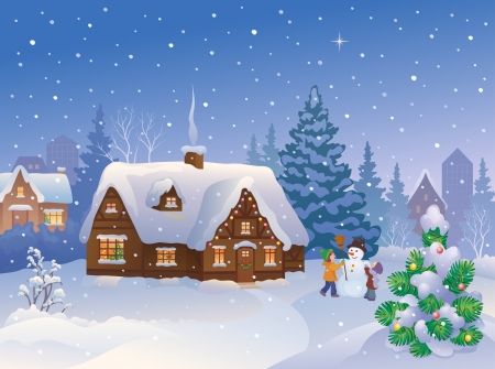 Vector illustration of Christmas suburbs with kids making a snowman