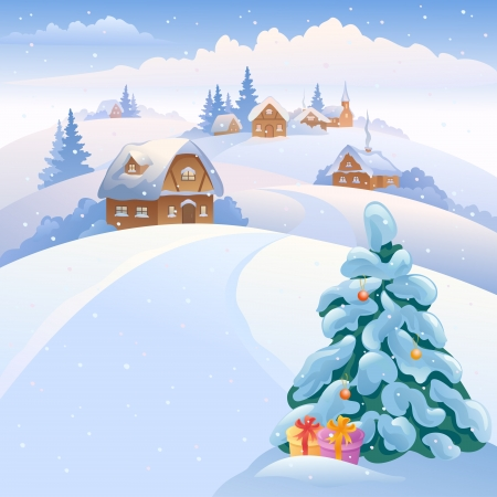 Vector illustration of a winter village on the hills