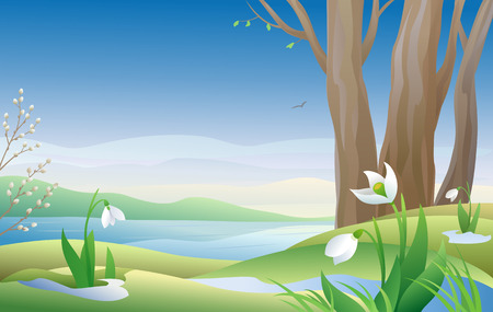 Vector illustration of an early spring morning with snowdrops