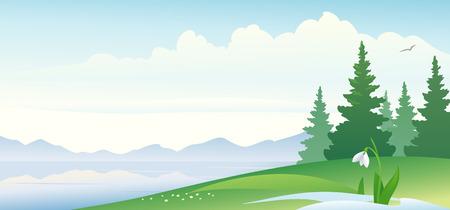 Vector illustratie van een vroege voorjaar landschap Stock Illustratie