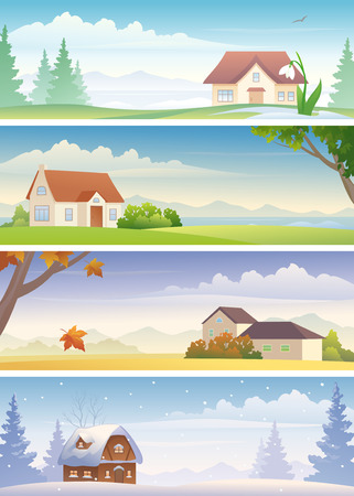 snowdrop: Vector four seasons banners