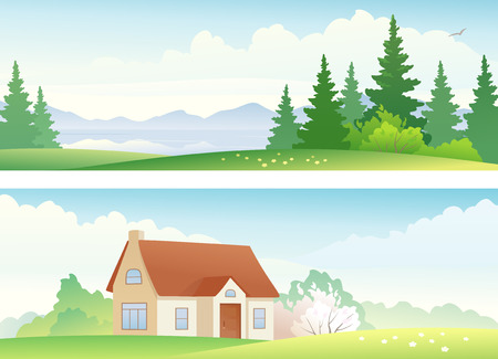 country house: Vector banners with summer and spring landscapes