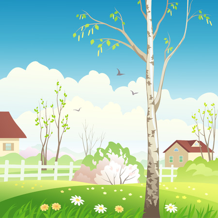 Vector illustration of a spring landscape Stock Vector - 26019196
