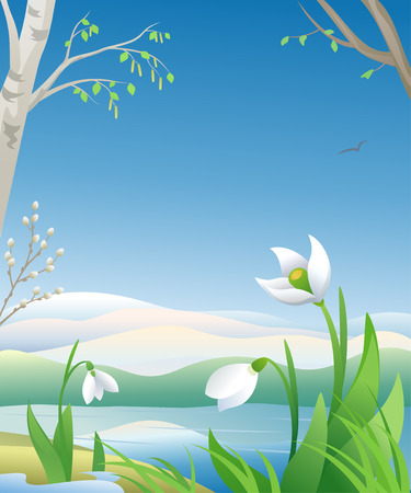 Vector illustration of an early spring morning Illustration