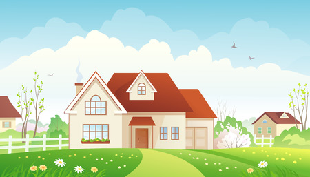 rural houses: Vector illustration of a spring suburban landscape