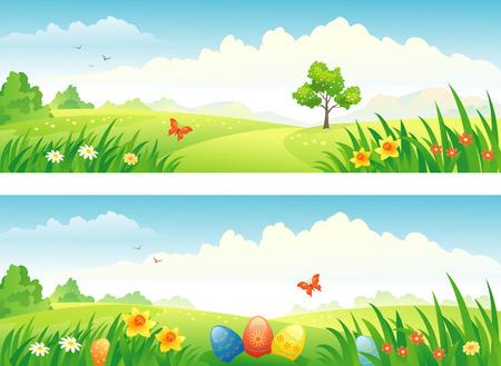 nubes caricatura: Vector de Pascua y banderas del resorte