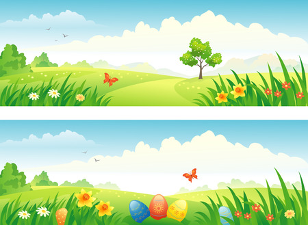 rural scenes: Vector Easter and spring banners