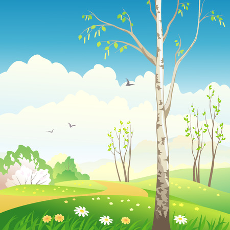 Vector illustration of a spring landscape with a birch tree