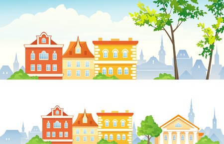 row houses: Vector old town banners Illustration