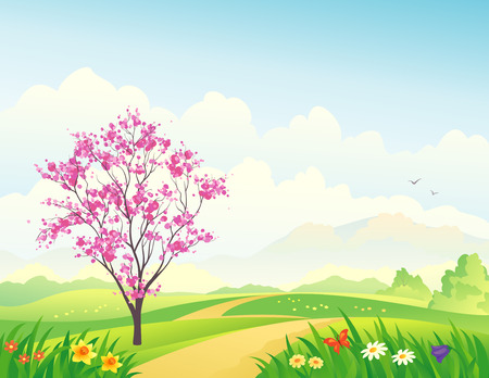 Vector illustration of a beautiful spring landscape with a blooming tree  Çizim