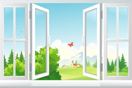 Ilustración del vector ventana abierta con una vista del paisaje EPS 10 transparencia utilizada