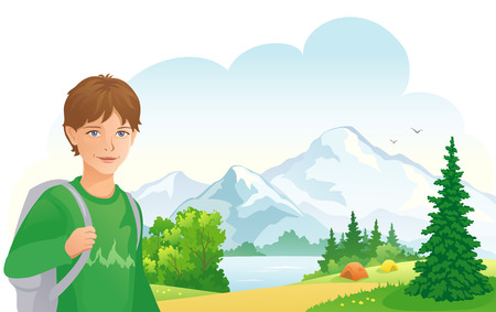 Vector illustration of a boy camping Vector