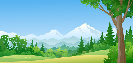 rural scenes: illustration of a mountain forest Illustration
