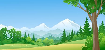 ilustración de un bosque de montaña