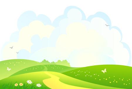 clouds cartoon: ilustraci�n de un paisaje rural monta�osa