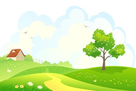 illustratie van een landelijke lente landschap Stock Illustratie