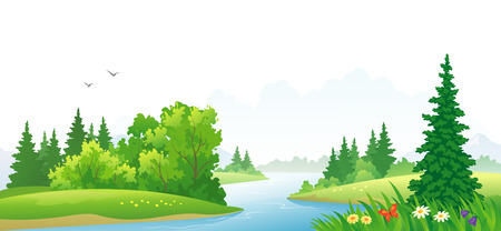 illustration of a forest river landscape Çizim