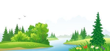 illustration of a forest river landscape Vettoriali