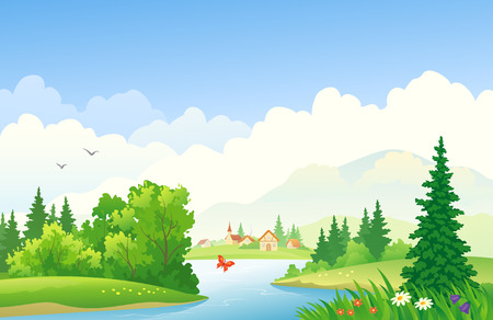 illustration of a summer river landscape Vector