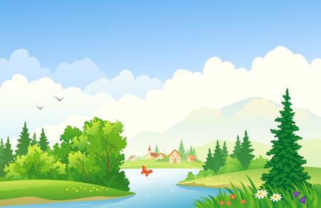 illustration of a summer river landscape