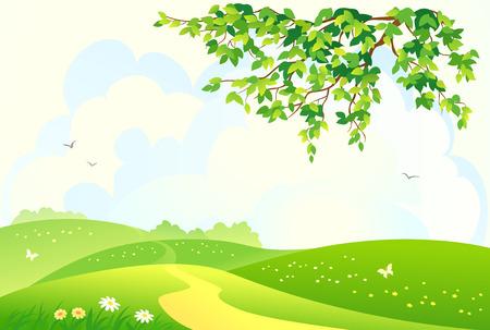 ilustración de un paisaje rural verde