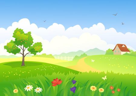 flor caricatura: ilustración de un paisaje del país Vectores