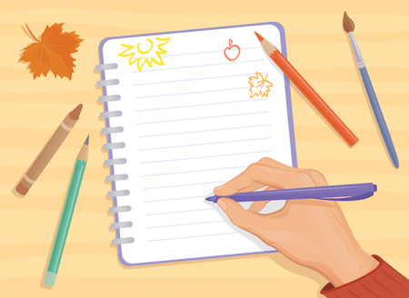 Vector background with a writing or drawing hand Vector