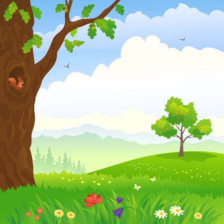 Vector illustration of a cartoon landscape with an oak and apple tree